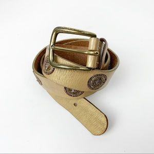 Nine West Gold Metallic Beaded 100% Leather Belt